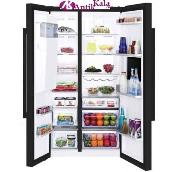 R frig rateur beko side by side 621 litres noir gn162420p for Refrigerateur beko noir miroir
