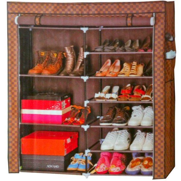 Meuble de rangement chaussure deux cabines 11 tag res - Meuble a chaussure solde ...