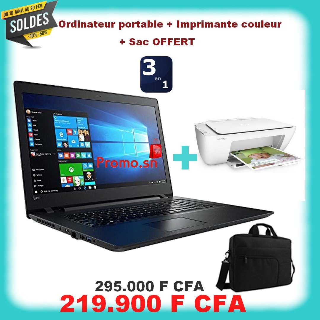 lenovo ideapad 100 ecran 15 39 6 disque dur 500 go ram 4 go imprimante couleur sac. Black Bedroom Furniture Sets. Home Design Ideas