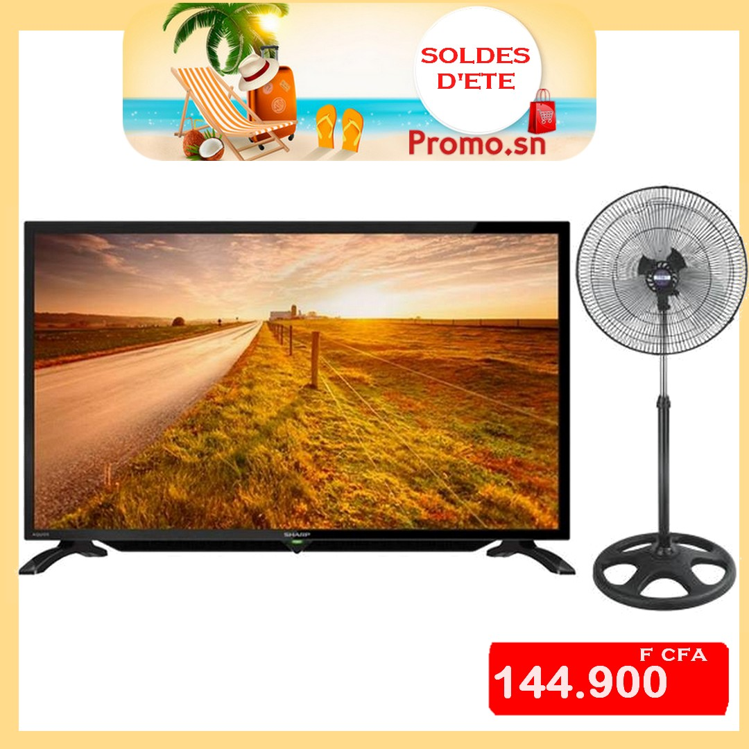 t l vision sharp 32 pouces 80 cm led tv sans tnt ventilateur offert petit prix. Black Bedroom Furniture Sets. Home Design Ideas